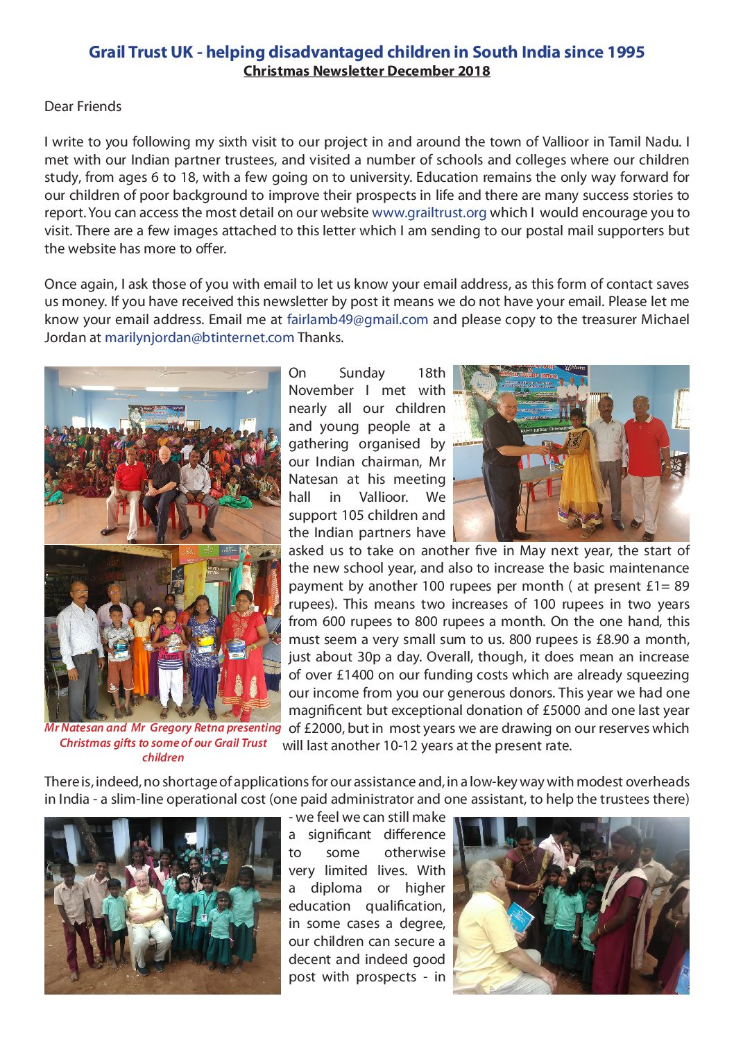 Christmas Newsletter 2018 and Report on Chairman`s Visit November 2018